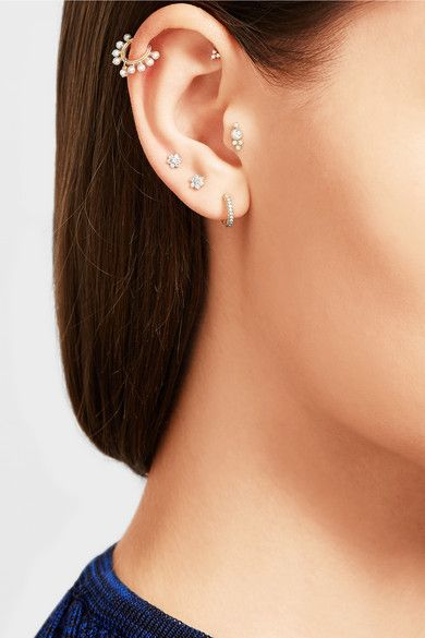 Maria Tash Flower 18-karat Gold Diamond Earring wFa48gmNGA