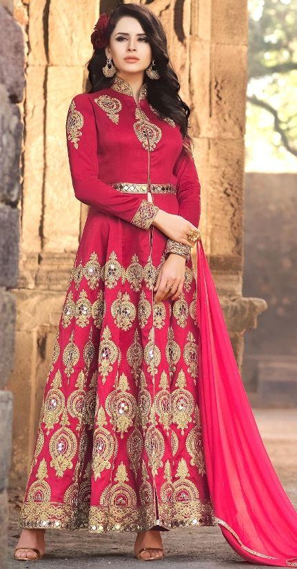 Pink Floor Length anarkali Suit With Mirror Work