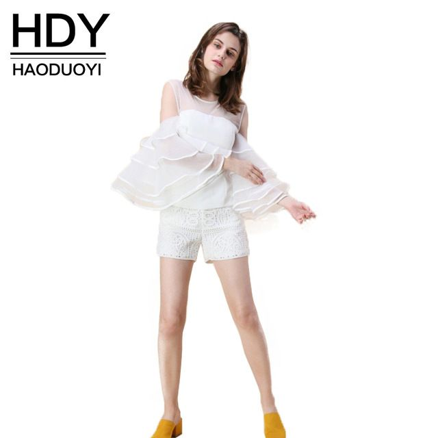 HDY Haoduoyi 2017 Fashion Blouse Women Casual Solid White Loose Ruffles Lady Tops Cute Brief Cold Shoulder O-neck Female Shirt