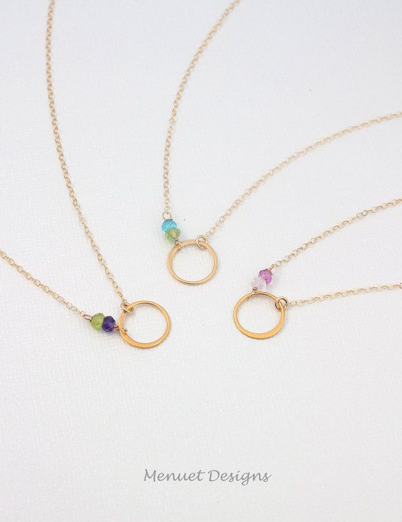 """Sisters Birthstone Circle Necklace, Personalize 24k Gold Vermeil """"Eternity"""" Gift for Her, Best Friend, SIsterhood Gift"""