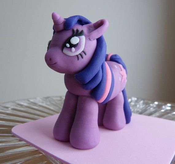 Great picture for making your own.......My Little Pony Cake Topper  Twilight Sparkle by ArtCreationsbyLK, $25.00