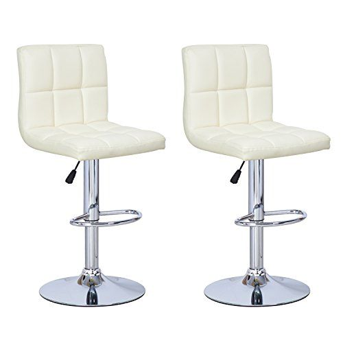 DecentHome Faux Leather Tufted 360 Swivel Adjustable Barstool Chairs with Chrome Finished Pedestal Base Cream White Set of 2