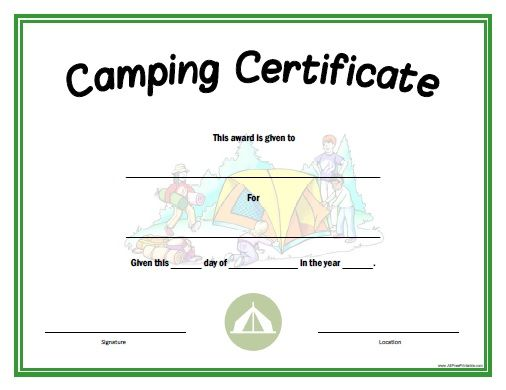 Camping Certificate All Free Printable Pinterest