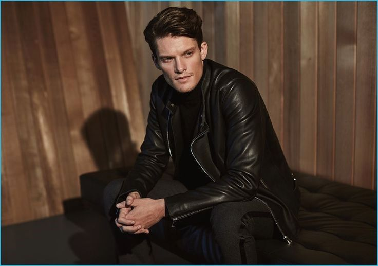 Danny Beauchamp wears a tab collar leather jacket with a black cashmere turtleneck sweater from Reiss' fall-winter 2016 premium collection.