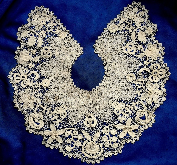 Superb Large Antique Hand Made Clones Irish Crochet Lace Collar Many 3D Motifs | eBay
