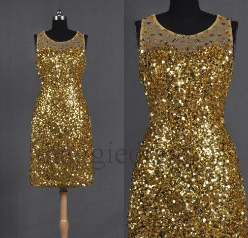 Nikkis maid of honor dress!!!! Custom Gold Sequins Lace Crystals  Short Prom by maggiedress, $158.00