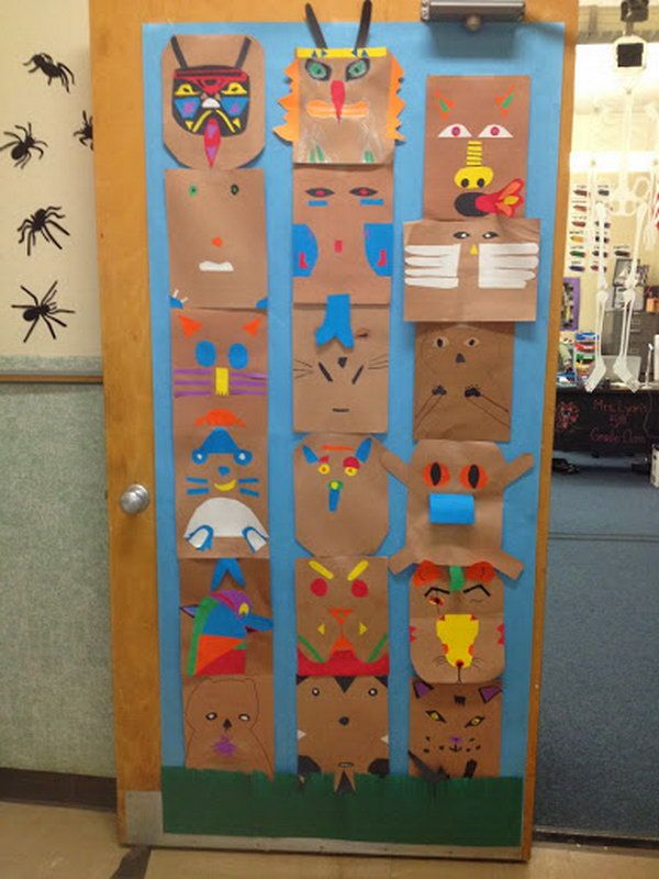Create the totem animals on these brown paper. Stack them together to create a totem pole. A great idea for a collaborative project and a history lesson at the same time.