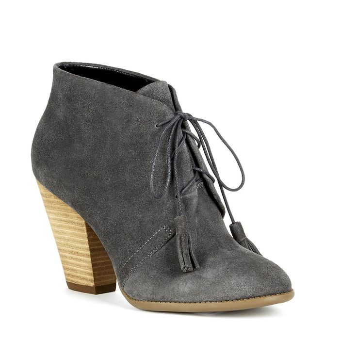 Lace-up ankle booties in grey suede with fun, on-trend tassels and a stacked heel