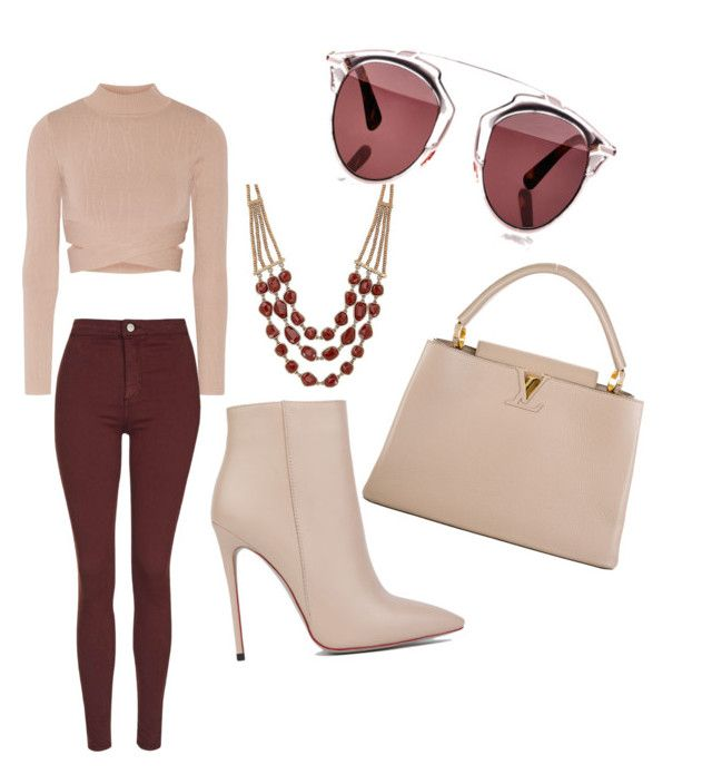 """""""Burgundy Beige Love"""" by mukta-b ❤ liked on Polyvore featuring Akira Black Label, Jonathan Simkhai, Topshop, Louis Vuitton, Christian Dior, Lucky Brand, women's clothing, women, female and woman"""