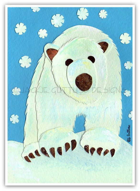 Polar bear art Original Polar bear art by JackieGuttusoDesigns