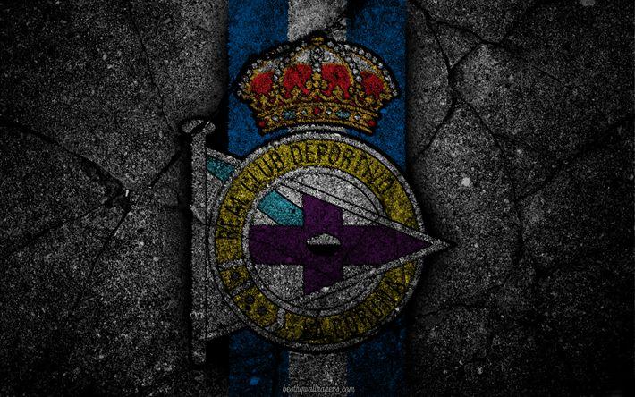 Descargar fondos de pantalla El Deportivo, el logotipo, el arte, La Liga bbva, fútbol, club de fútbol, el Deportivo de La Coruña, LaLiga, el grunge, el Deportivo FC