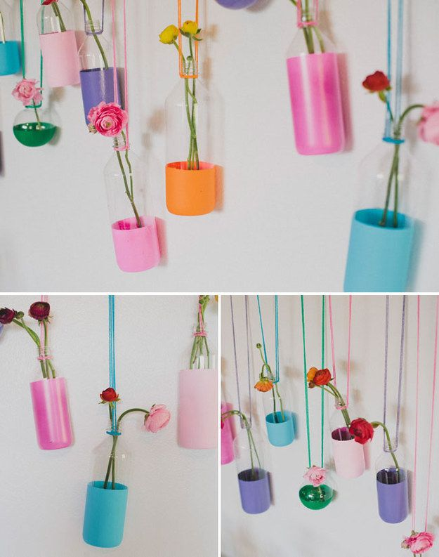These pretty vases are just spray-painted bottles. | 33 Impossibly Cute DIYs You Can Make With Things From Your Recycling Bin