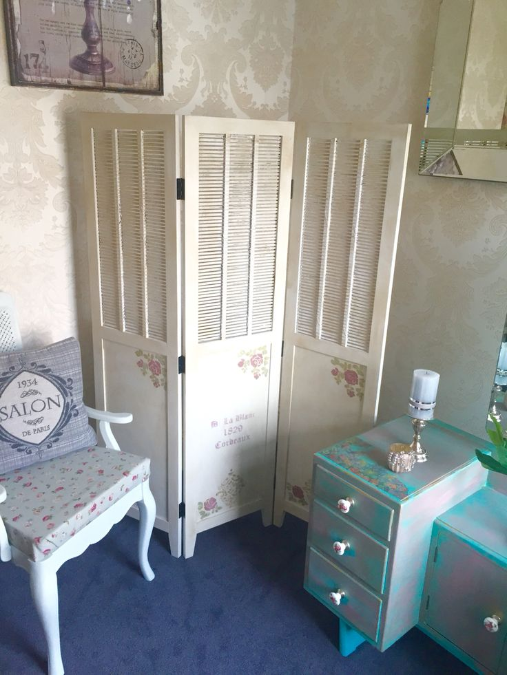 A dressing screen painted in Linen and dark waxed, Shabby Chic style. Check out Shabby Chic in Laois on Facebook.