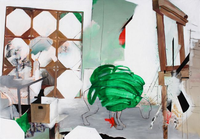 """Bearing the Burden of Doubt (Studio visit with Shawn Hunt / Graeme Berglund, Vancouver) Oil on canvas, 78.7"""" x 55.1"""", 2013"""