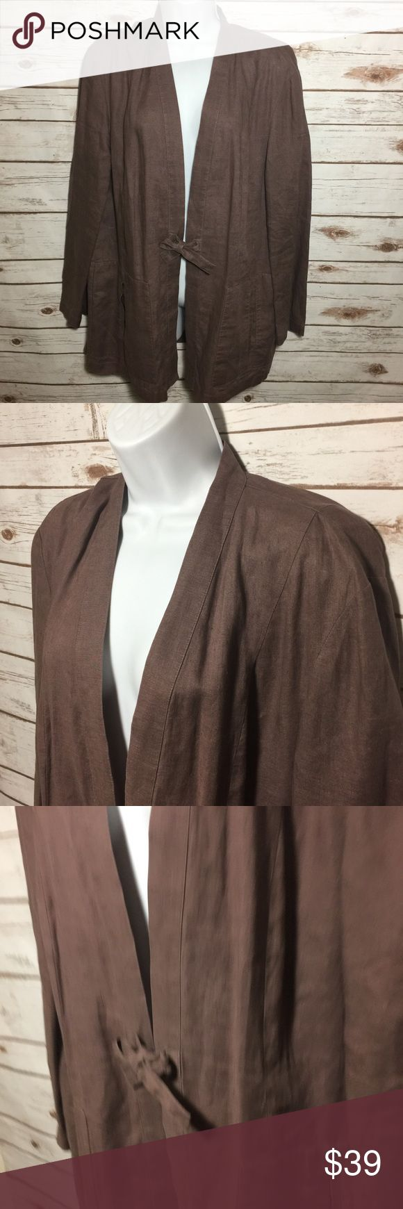 """Nordstrom 100% Linen Jacket Open Front Sz LARGE Nordstrom Brand 100% Linen Jacket Open Front Tie Mauve Purple Blazer Sz LARGE Size:  Large Material:  100% Linen Color:  Purple Mauve Measurements:  Length 32"""" / Sleeve Length 23.5"""" / Shoulder to Shoulder 17"""" / Back (pit to pit) 23"""" Condition: Excellent pre-owned condition. No holes, no stains, no flaws. Country of Manufacturer:  China Stock Number:  MC.1017 Nordstrom Jackets & Coats"""