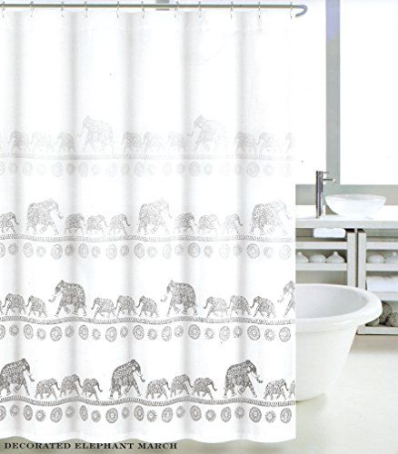 Max Studio Home Henna Ornate Indian Elephant Boho Fabric Shower Curtain Grey White Gray