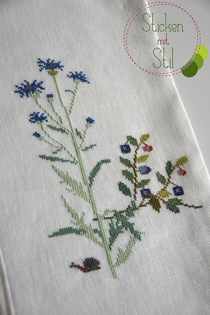 Kissen Kazuko Aoki Kreuzstich Blumen Wiese Schnecke / Pillow Cross Stitching  flowers meadow snail / StickenMitStil