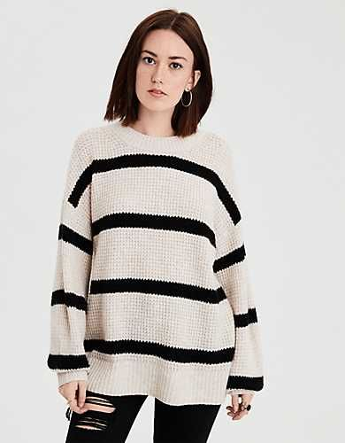 d66907a572 AE Balloon Sleeve Crew Neck Sweater Waffle Knit