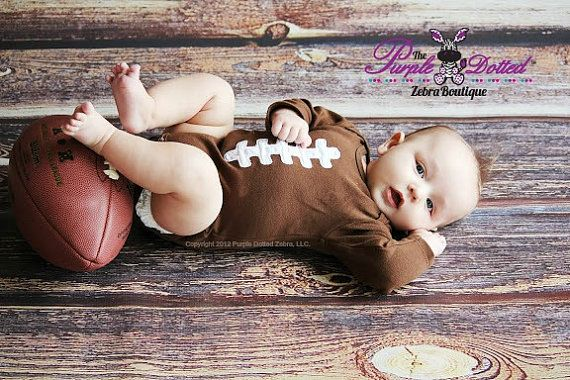 Football Long Sleeve Themed Bodysuit (Newborn to 18 Months) - Photo Prop - Football Baby Boy Birthday