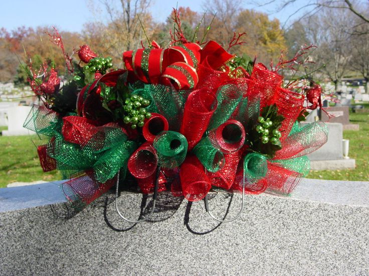 Christmas Deco Mesh Cemetery Saddle Grave Headstone Memorial