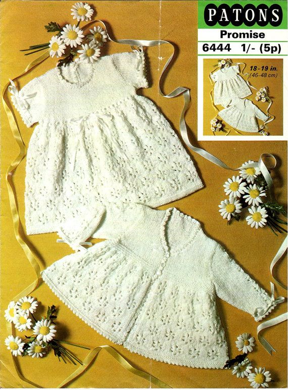 Baby lace dress and coat Knitting pattern PDF lovely old