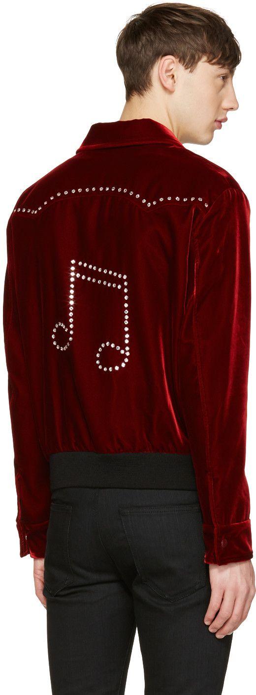 Saint Laurent - Red Velvet Western Teddy Jacket