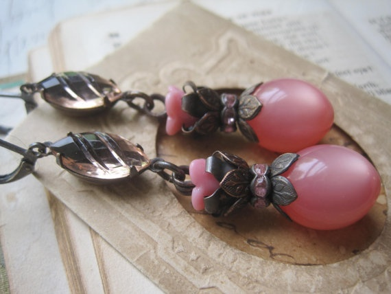 pink vintage assemblage earrings Music of my Heart by SacredCake, $28.50