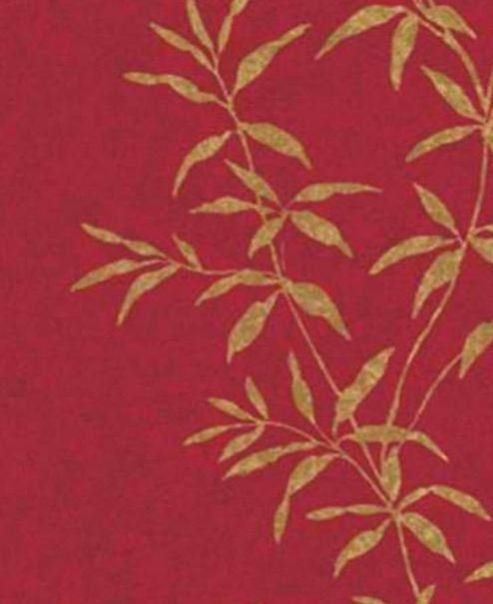Red asian inspired bamboo leaf wallpaper faux texture for Wallpaper rolls home depot