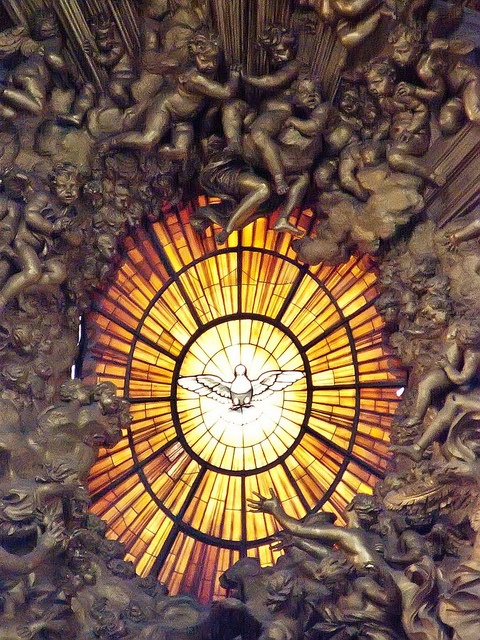 Alabaster window depicting the Holy Spirit as a dove above the altar of the Chair of St. Peter   by Bernini, 1666 CE by mharrsch, via Flickr