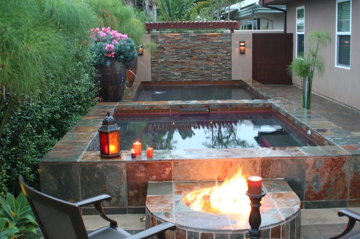 Hot tub fire pit combo my beautiful home pinterest for Gartengestaltung jacuzzi