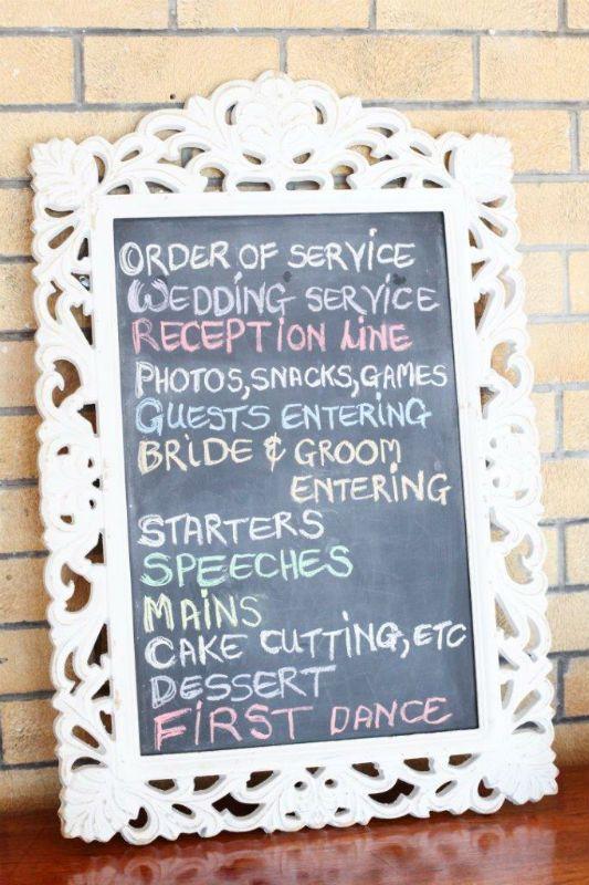 White Ornate Chalkboard Frame - For hire Natural Nostalgia (midlands KZN)