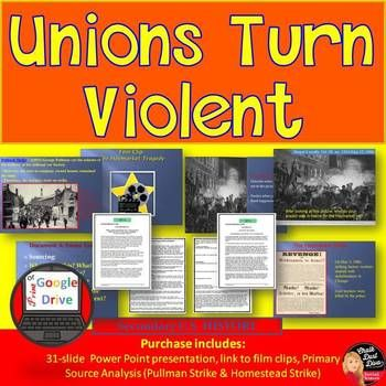 In this common-core activity students will learn about three different strikes from the union movement during the American Industrial Revolution: The Homestead Strike, The Pullman Strike and the Haymarket Affair. An engaging presentation is included that includes film clips, pair-share questions, class discussion questions, and a formative assessment.