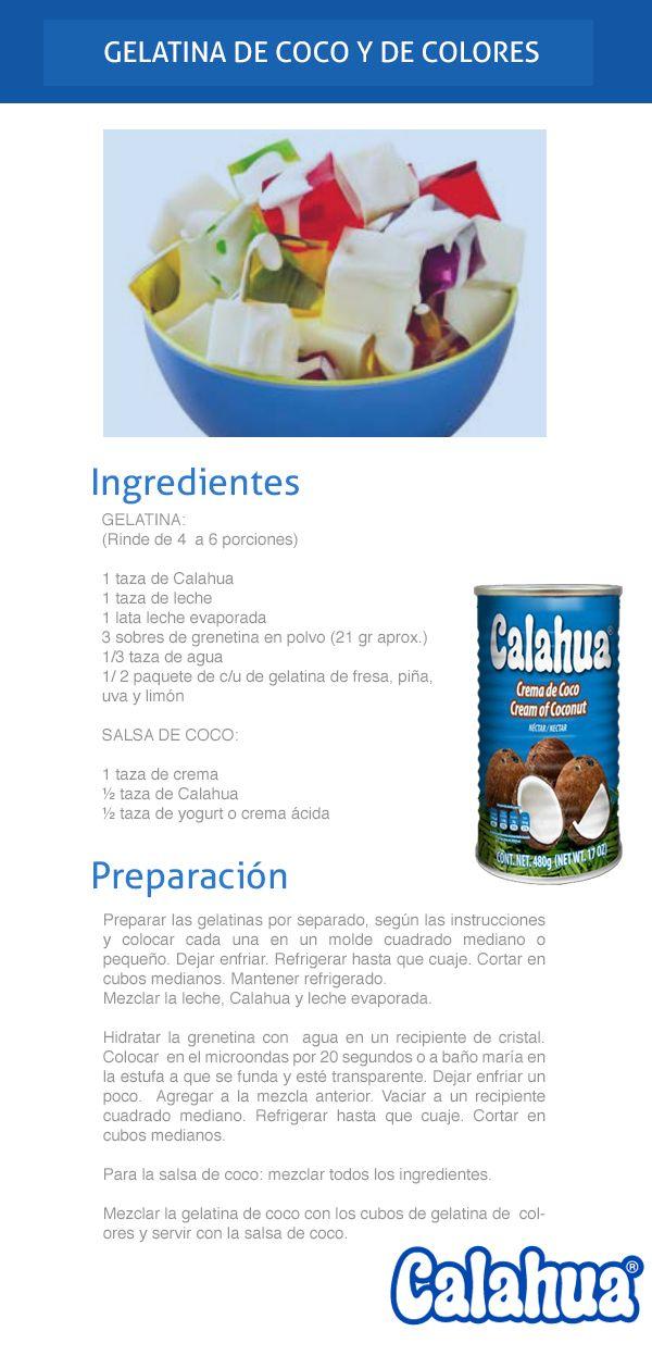 Gelatina de coco y de colores, prepárala con crema de coco Calahua. ¡Deliciosa!
