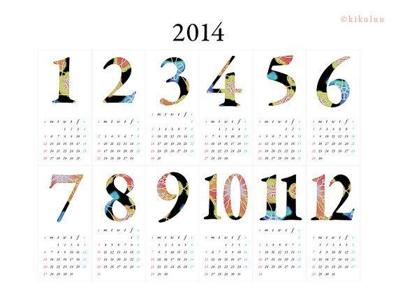 Calendar 2014 // Set of Monthly Desk Calendar & Year by kikuluu