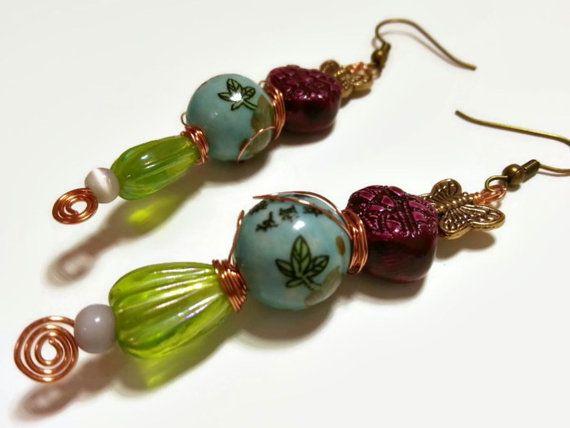 Vintage glass earrings blue ceramic drops textured by AlphaBlocks