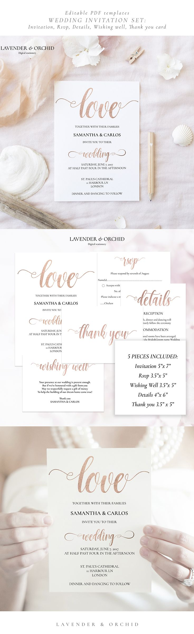 Wedding Invitation Set - editable PDF template. Create your own stunning Wedding Invitation at home!  Our quick and easy-to-use templates are perfect for the DIY couples on a budget.