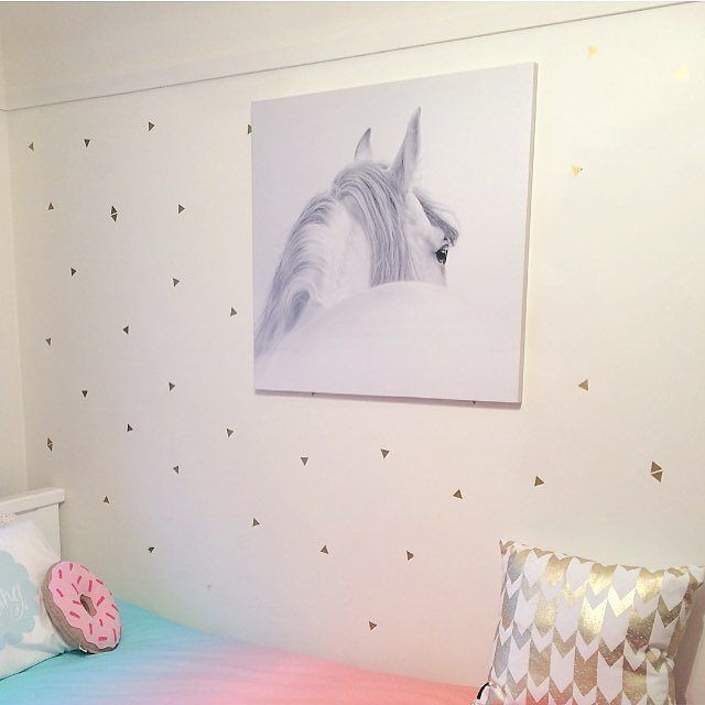 Love this pic from one of our fave customers @joannajwestwood featuring her daughter Lucy's room -- and fab triangle wall decals from For Keeps <3 How pretty is this?! :) #walldecals #wallstyling #walldecor #forkeepsstore