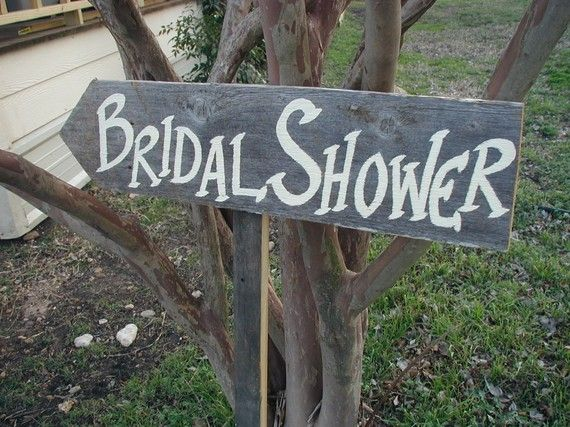 Rustic Wood Wedding Sign on Stake Bridal Shower by craftmarttexas, $20.00