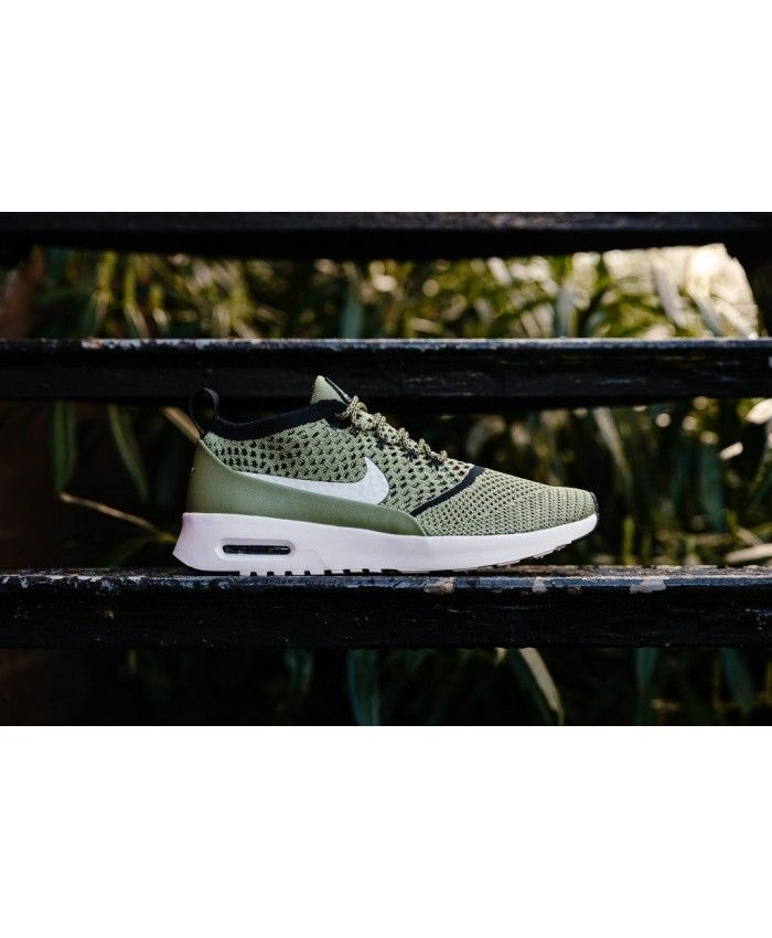 Air Max Thea Flyknit Palm GreenWhiteBlack Womens | Nike