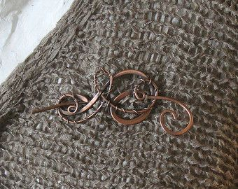 Items Similar To Shawl Pin Copper Wire Wrapped Jewelry Copper Pin Paper  Bead Fibula Copper Brooch Wire Shawl Pin On Etsy