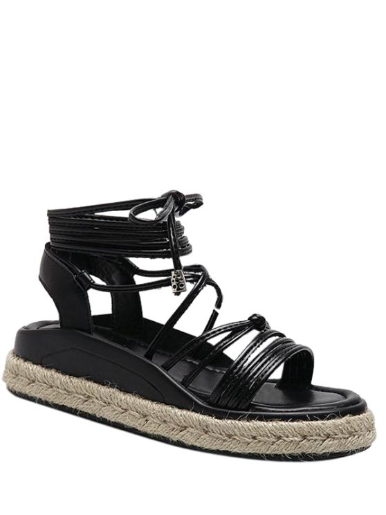 Tie Up Espadrilles Faux Leather Sandals - Black 40 #Shoproads #onlineshopping #Formal Shoes