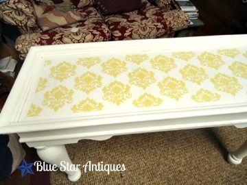Table Make over - from Blue Star AntiquesFurniture Stencils, Stars Antiques, Friday Features, Damasks Stencils, Stencils Silhouettes, Silhouettes America, Stencils Furniture, Silhouettes Blog, Blue Stars