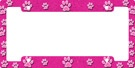 Girly Pink Paws Metal Car License Plate Frame