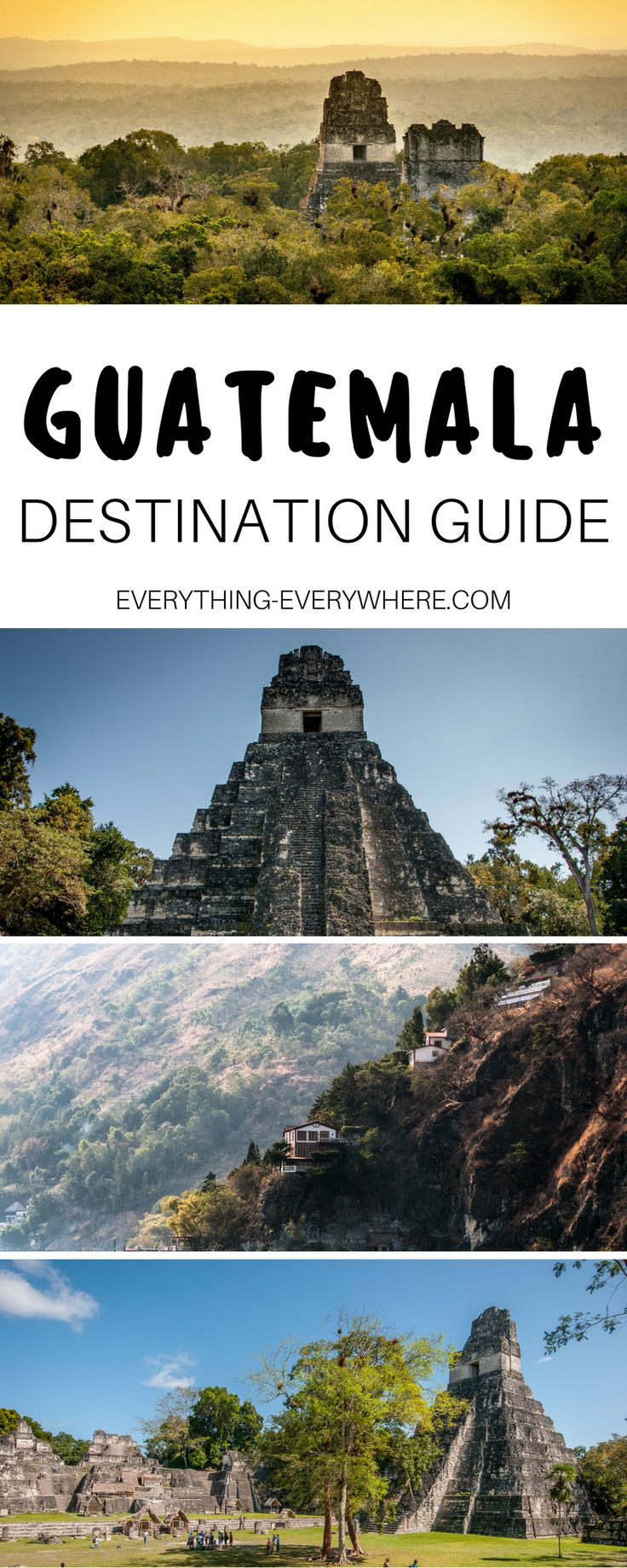 A complete guide to exploring Guatemala. Located in Central America, this guide includes things to do in destinations such as Tikal, Lake Atitlan, Pacaya and beyond, as well as best Guatemalan food and cuisine and practical tips for your trip. Travel in Latin America. | Everything Everywhere Travel Blog #Guatemala