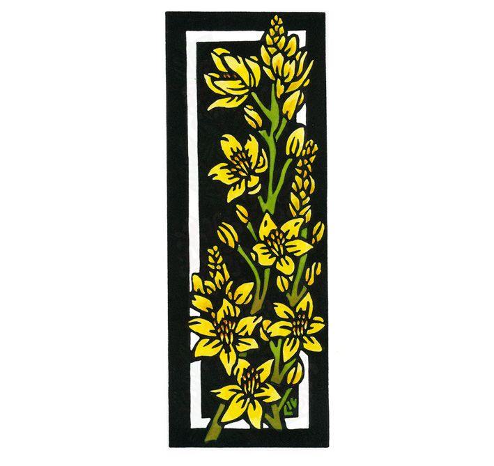 Rock Lily Deco - Art Deco inspired Limited Edition Handpainted Linocuts by Lynette Weir