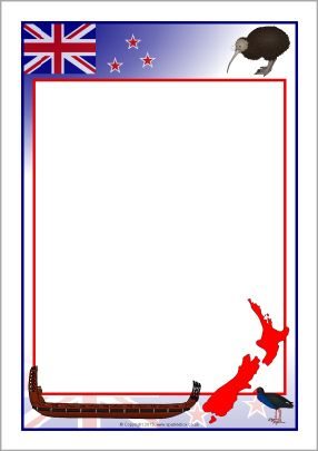 New Zealand A4 page borders (SB9263) - SparkleBox