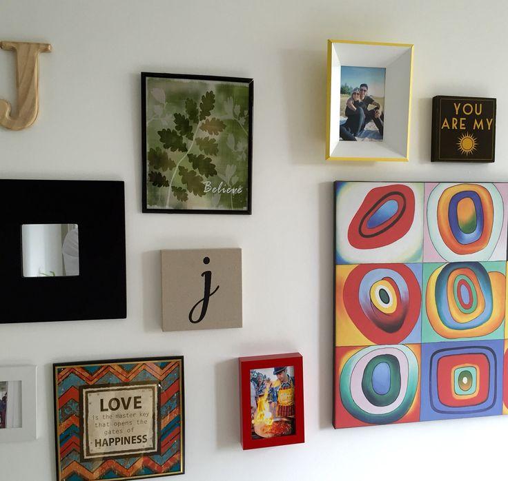 Sala, hogar, decoración, cuadro, retrato, foto, espejo