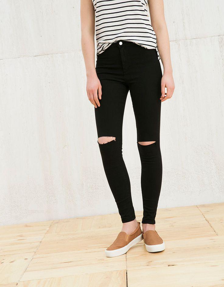 Jegging BSK tiro alto corte en rodilla - Jeans - Bershka España