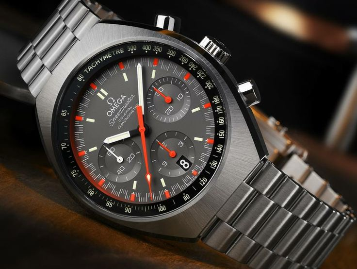 Pre-Baselworld 2014: Omega Speedmaster Mark II  An updated version of Speedmaster. An iconic design with a bit of color. Available in two different color combination:red-orange accents with a gray dial &white and green accents with a black matte dial.