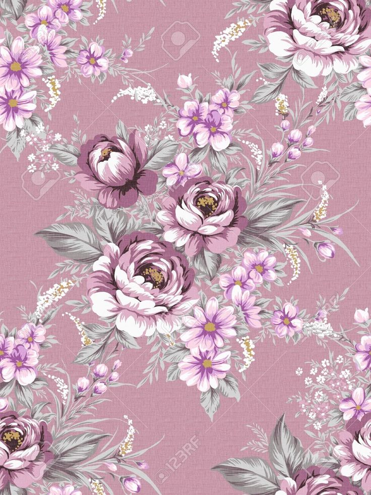 Vintage Floral Wallpaper Purple Поиск в Google Vintage